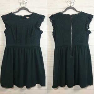 Xhilaration dark green lace fit and flare dress